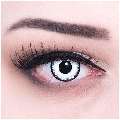 Crazy Fun Kontaktlinsen mit Sehstärke schwaz weiß Lunatic für Halloween Fasching