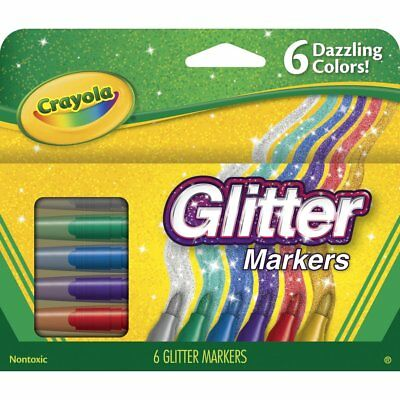 Crayola Non-Toxic Glitter Marker Set, Assorted Colors, Set of 6 - Crayola Marker Set
