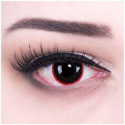 Fun Kontaktlinsen mit Sehstärke rot schwarz Exorcism für Halloween Fasching