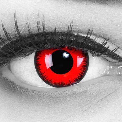 Gruselige rot schwarze Kontaktlinsen für Halloween / Karneval Red Lunatic