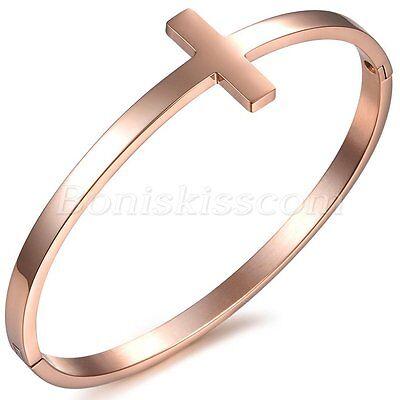 Stainless Steel Silver/Rose Gold Tone Sideways Cross Cuff Bangle Bracelet - Gold Tone Rose Cross