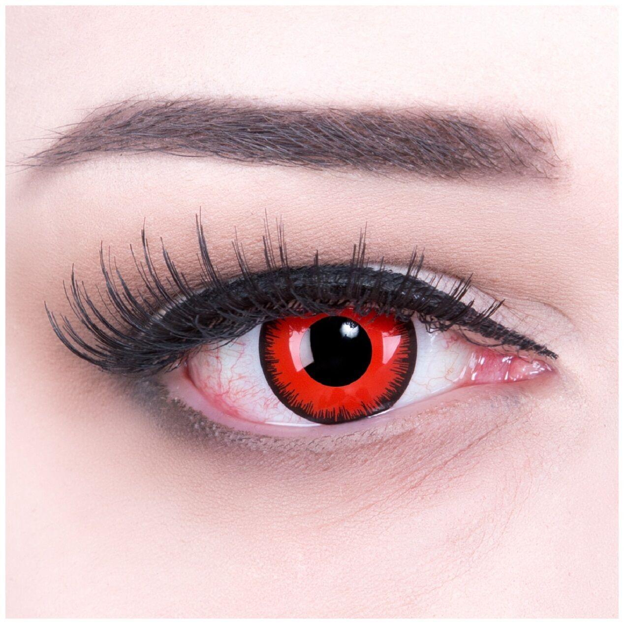 Gruselige farbige rote Kontaktlinsen für Halloween Modell: Red Lunatic rot Demon