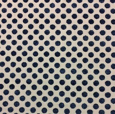 Dot Cotton Chenille Fabric - KRAVET KATE SPADE LUNITIA NAVY BLUE POLKA DOT CHENILLE FABRIC 5.25 YARDS 54