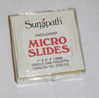 Surgipath Precleaned Single End Frosted Micro Slides 1x3x1.0mm.. Free Shipping
