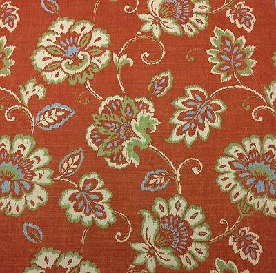 Thibaut Alexa Orange Large Floral Vine Linen Exclusive Fabric 3 1 Yards 54 W