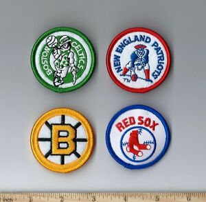 Set of 4 Vintage Patriots Boston Celtics Red Sox Bruins 2 Inch Round Patch