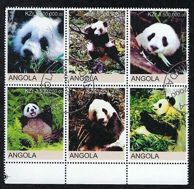 Dealer's Lot - Angola Panda Bears Block of 6 stamps, 500 sets