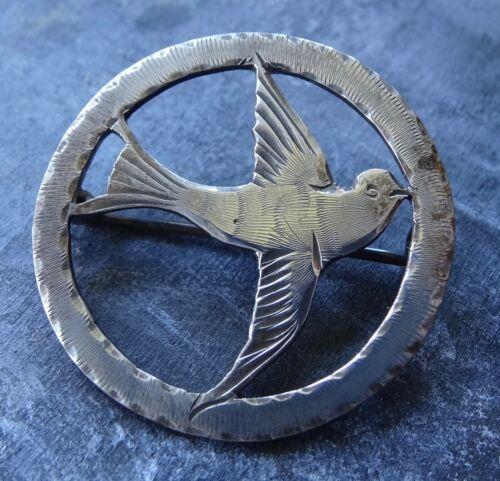 antique Edwardian STERLING SILVER swallow bird brooch c pin -C659