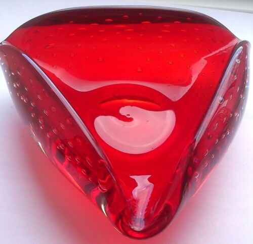 """Whitefriars #9562 Ruby Red Art-Glass Bullicante Bubble Bowl 5.25"""" Dia. 2""""H 500g"""