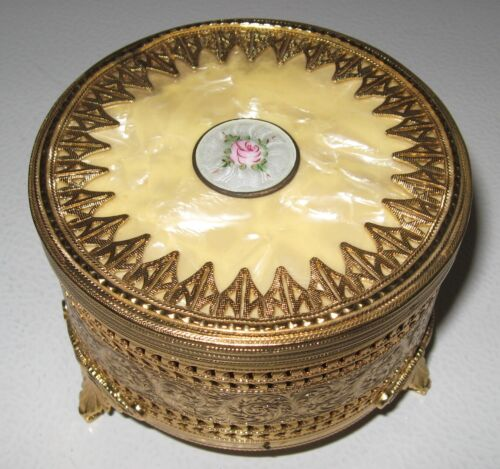 Vintage Music Box with Powder Puff Compartment, Gold Pierced Metal, Unused