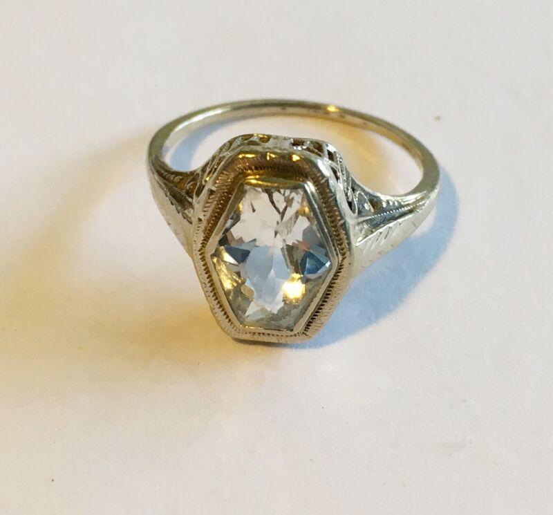 Antique Art Deco 14k Filigree Ring With Aquamarine