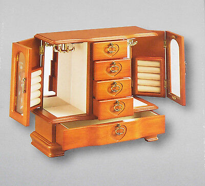 Jewelry Box with Etched Glass, Light Oak Finish, Brand New in Box