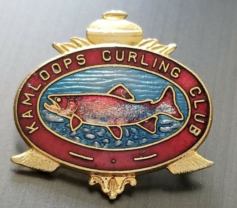 Vintage Kamloops BC Canada  CURLING Club Salmon pin