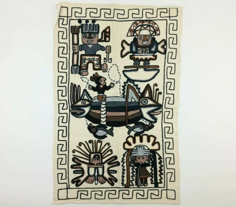 Handcrafted hand-stitched wool wall hanging tapestry from Peru ~3