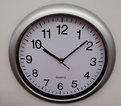 NEW SILVER-GRAY 11  WALL CLOCK WITH QUIET SWEEP- ITEM NUMBER SC 175-10