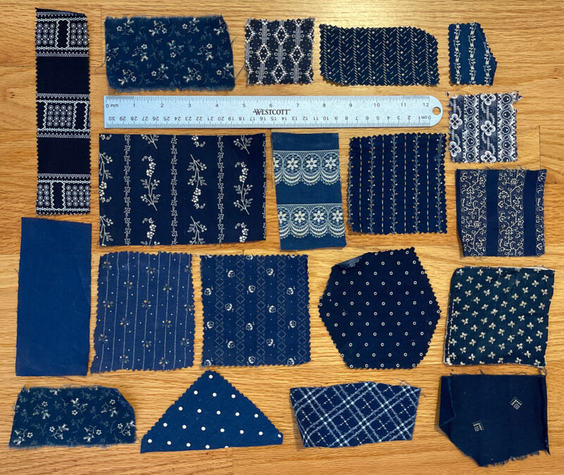 19 Antique French Cotton Indigo Quilting Pieces and Samples 1830-70 - Dolls