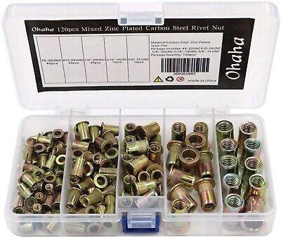 120 Mixed Rivet Nut Tool Kit Set Steel Rivnut Insert Nutsert 14 -20 38-16 516