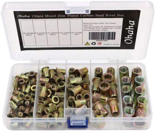 120 MIXED Rivet Nut Tool Kit Set Steel Rivnut Insert Nutsert 1/4 -20 3/8-16 5/16