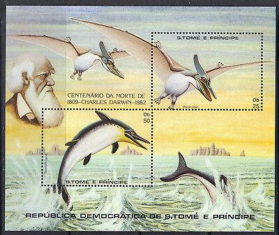 S.Tome & Principe 1982 Dinosaurs Pteranodon Stenopterygius MNH SS SC 670 $13.50