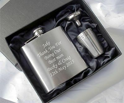personalised engraved hip flask, usher gifts, best man gifts, groom gifts