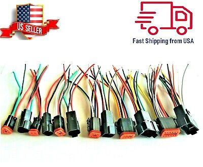 6 Assembled Black Deutsch 2346812 Pin14 Awg Waterproof Connector Wire