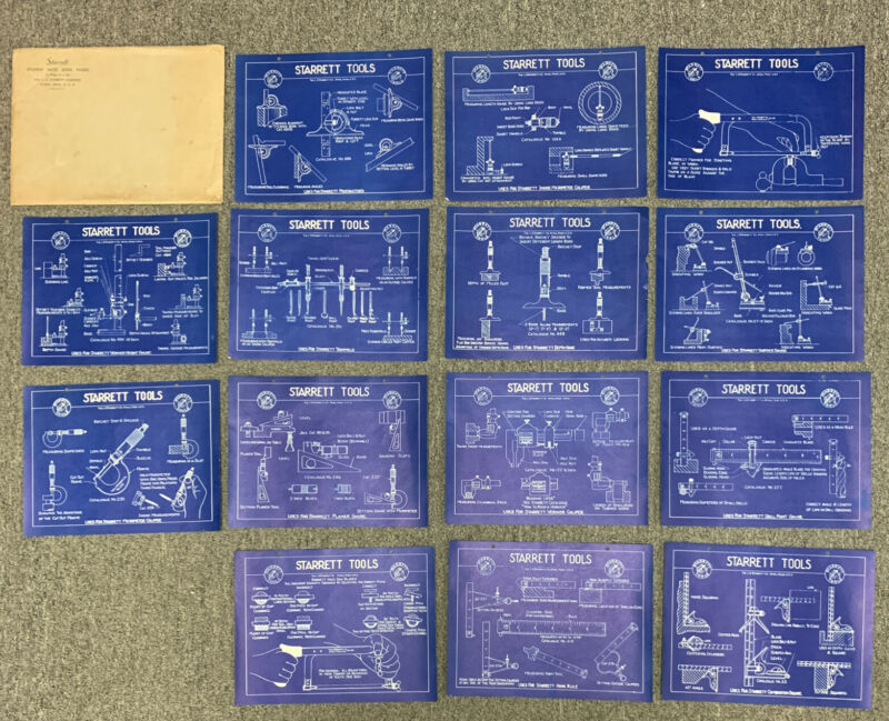 "Vintage Starrett Tools Lot of 14 Blueprint Advertising Posters 10""x8"" Shop Class"