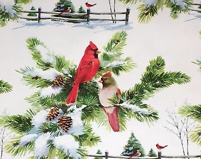 VTG CHRISTMAS DEPT STORE WRAPPING PAPER GIFT WRAP 2 YARDS WINTER CARDINAL SCENE