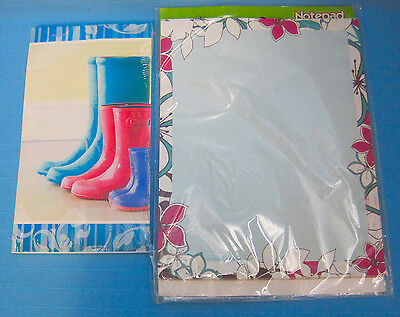 Spring Time Note Pads Stationery Rainy Day Boots Flower Designs Lot Of 2