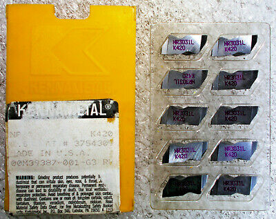 Kennametal Nr3031l Left Hand Top Notch Carbide Insert 116 Full Radius 10 Pcs