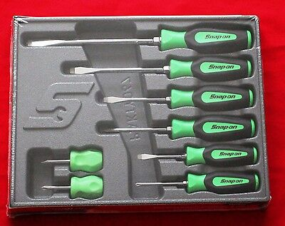 snap on green tools screwdriver set 8 soft instinct handle new. Black Bedroom Furniture Sets. Home Design Ideas