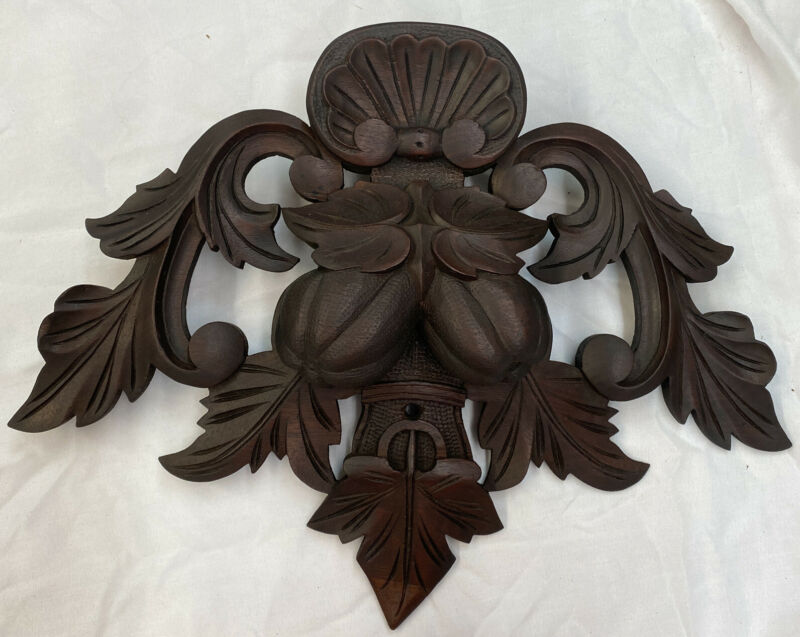 Antique Hand Carved Walnut Pediment Crest Fruit Leaves