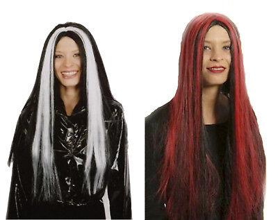 Damen PERÜCKE schwarz rot  / weiß zB zu Kostüm Vampir Hexe Teufel Vamp Zauberin
