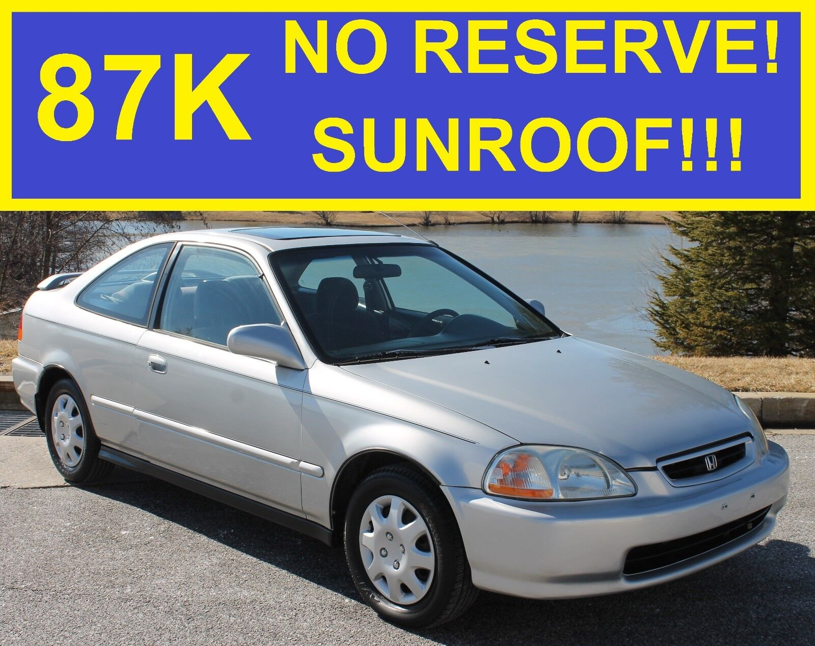 NO RESERVE 85K 1997 HONDA CIVIC EX SUNROOF MUST SEE!!! ACCORD COROLLA TOYOTA LX