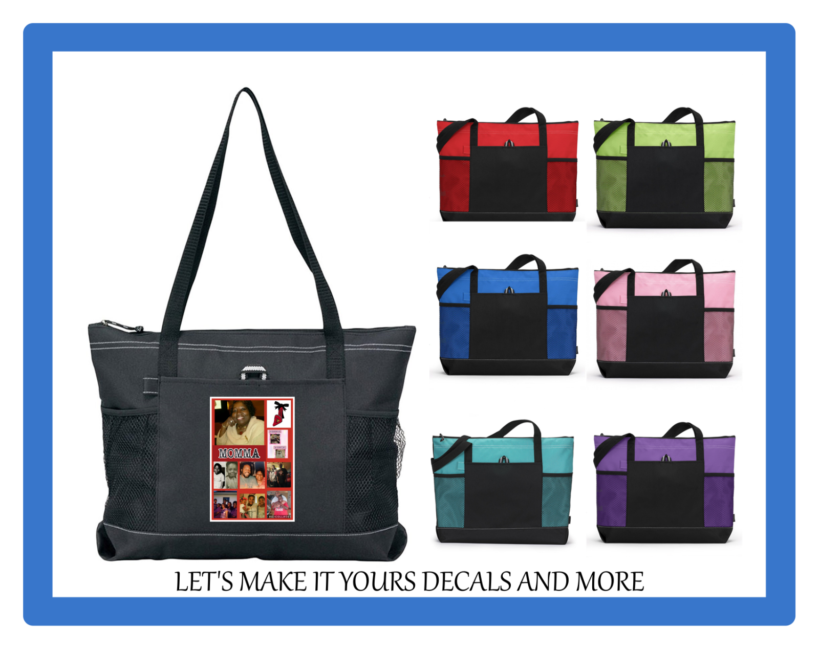 YOUR PICTURE PERSONALIZED ZIP TOTE PURSE SCHOOL GYM LUGGAGE