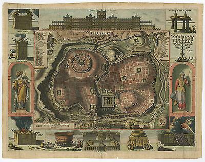 Antique Print-JERUSALEM-SOLOMON-TEMPLE-JEWS-MENORAH-ISRAEL-Elzevier-Berchem-1669