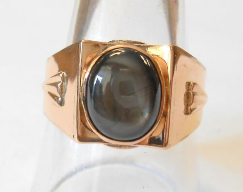 Vintage Mens Ladies Black Sapphire 18K Rose Gold Deco Setting Ring Size 10