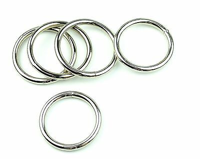 "Stainless Steel Rings Welded Nickel Plated 1 1/2 "" Eye Size-10 Pcs"