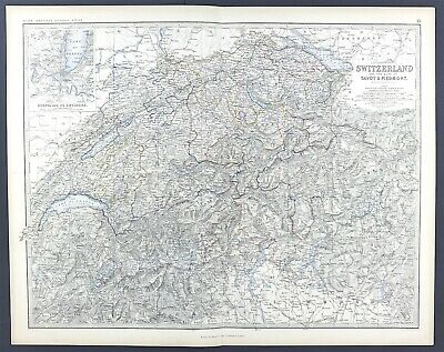 Large Antique Map of Switzerland & The Alps c1869 Keith Johnston Royal Atlas