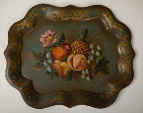 Ornate Toleware Tray (N6R) Hand Painted & Signed A Peyser 18x15 Olice Green