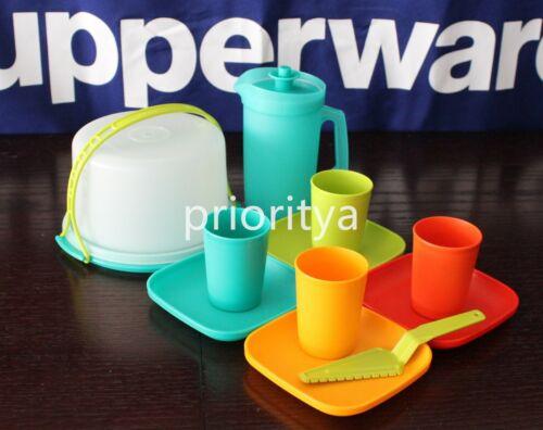 Tupperware Kids Toy 11 Pc Mini Tumbler Plate Cake Taker Party Set New