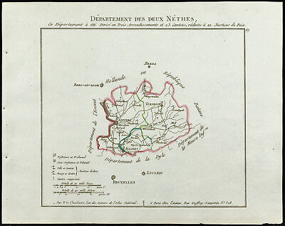 1802 - Antique Map Department of Two Nethes (Belgium, Antwerp) of Chanlair