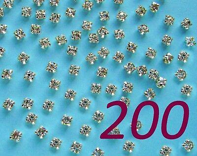 200 x Sew on Crystal Clear Glass Diamante Claw Set Rhinestones Silver ss12