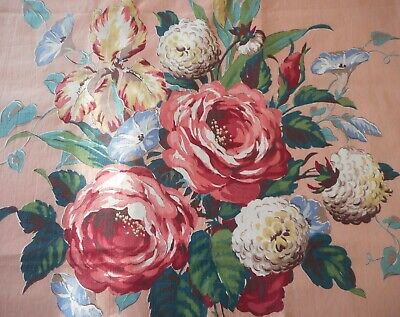 Antique English Roses Morning Glory Floral Chintz Fabric ~ Pink Blue Taupe