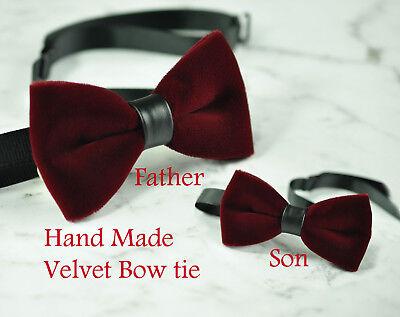 Father Son Match  Handmade Burgundy DARK WINE RED Velvet Bow Tie Bowtie Wedding Dark Red Bow Tie