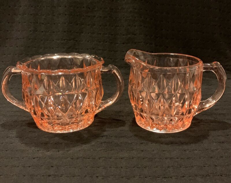 Jeannette WindsorDiamond Pink Depression Glass Creamer and Sugar