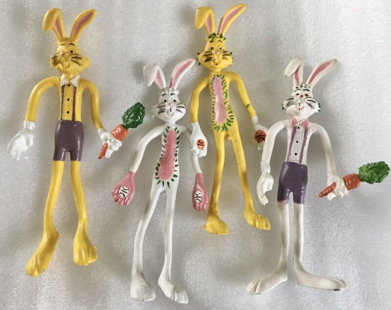"""Vintage Bend-A-Bunny Wire Rubber Easter Bunny 6"""" Figure Lot of 4 Yellow & White"""