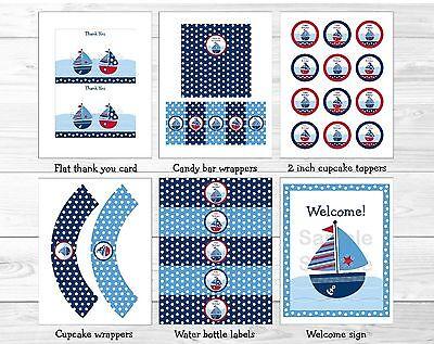 Sail Away Sailboat Nautical Blue Printable Birthday Party Package - Sailboat Birthday Party