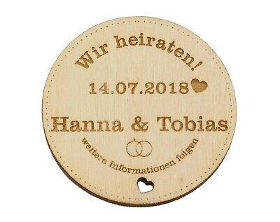 Kreisförmig, Hochzeitseinladung, Holzmagnet (Hochzeit Save The Dates)