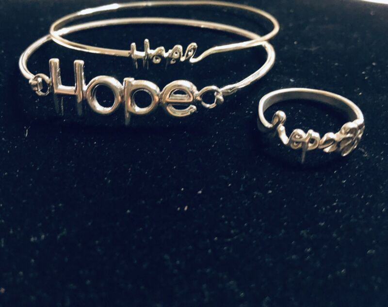 HOPE Jewelry Lot Silver 2 Bangles & Ring