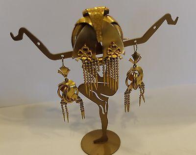 Victorian Pinch back Dangle Tassel Earrings Tassel Brooch Bow Trim Knots Design